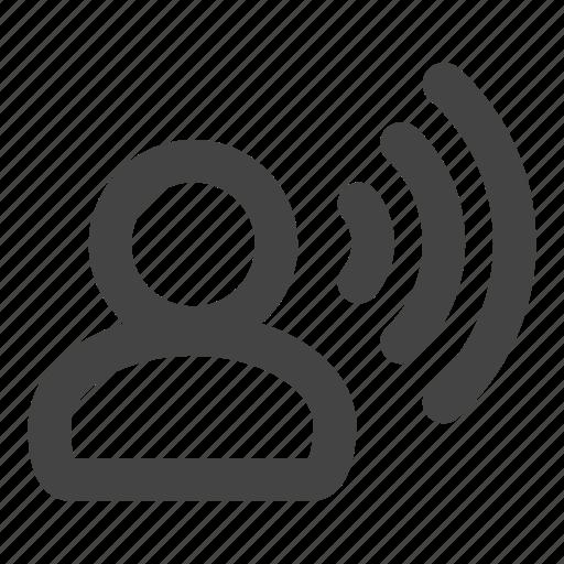 cell, sound, speak, speaking, speech, user, volume icon