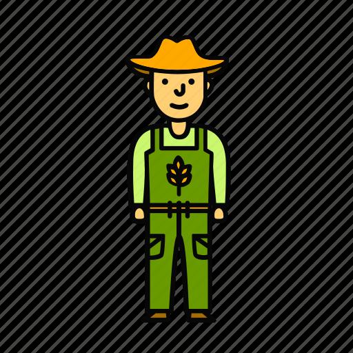farmer, grain, landowner, man, wheat icon