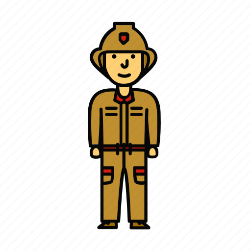fire, firefighter, fireman, man, saver icon
