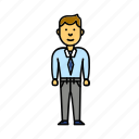 business, enterprenier, man, office, user, worker icon