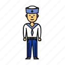 boy, captain, man, mariner, sailor, seaman icon