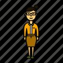 tutor, woman, teacher, glasses, secretary icon