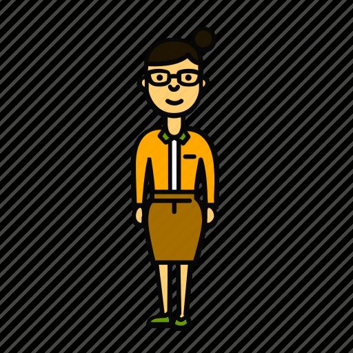 glasses, secretary, teacher, tutor, woman icon