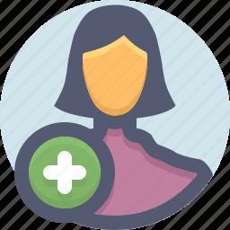 add, create, plus, user, woman icon