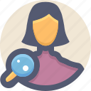 find, magnifier, search, user, woman icon