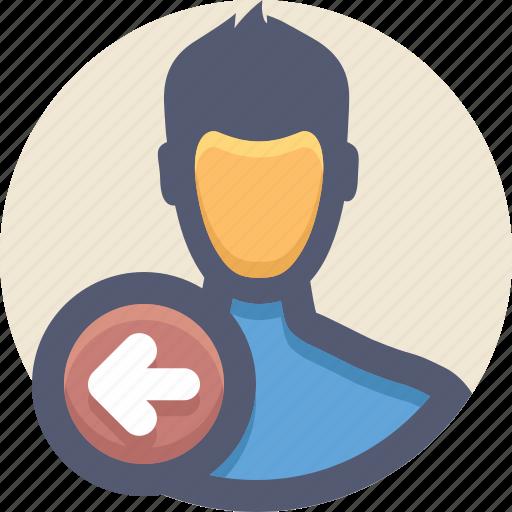departure, exit, leave, logout, signout, user icon