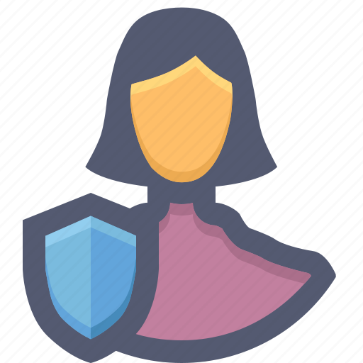 account protection, girl, guard, protection, protection shield, user, woman protection icon