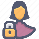 block, block account, block user, lock, protection, user, woman icon