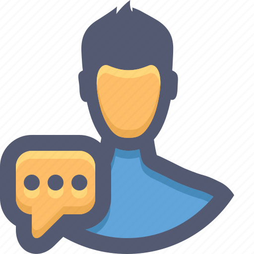 chat, man, message, private message, speech bubble, text, user icon