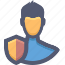 account protection, guard, safe, security, shield, user, user protection icon