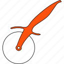 blade, cutter, line, pizza, roll, steel, thin icon