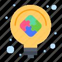 bulb, idea, light, puzzle, solution