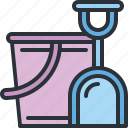 beach, bucket, sand, sea, shovel, travel, vacation icon