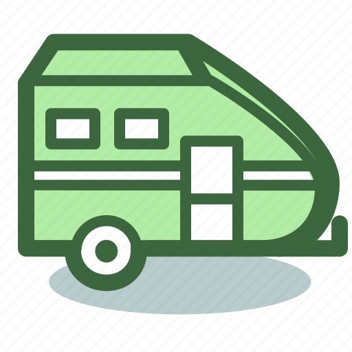 camping, house, on, travel, wheels icon