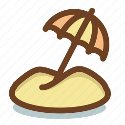 beach, sand, summer, umbrella, vacation icon