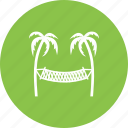 beach, hammock, sand, sky, summer, sun, travel icon