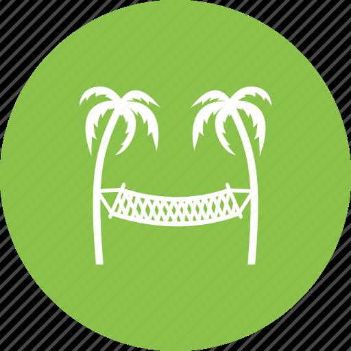 beach, hammock, sand, sky, summer, sun, travel icon