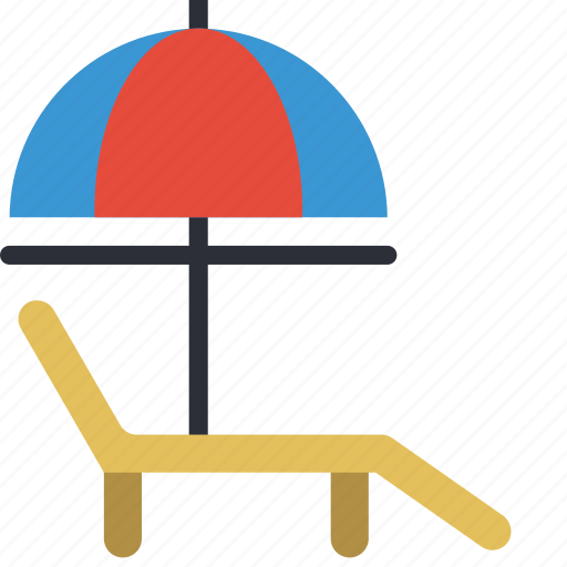 beach, chair, deck, holiday, lounger, vacations icon