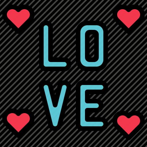 alphabet, heart, love, valentine icon