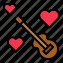 guitar, heart, love, musical instrument, valentine icon