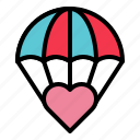 heart, love, parachute, valentine icon