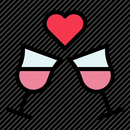 beverage, champagne, drinks, glass, love, valentine, wine icon