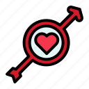 arrow, heart, love, male, valentine icon