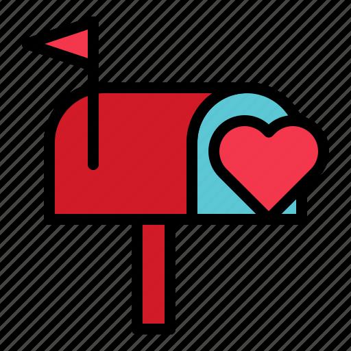 letterbox, love, mailbox, postbox, valentine icon