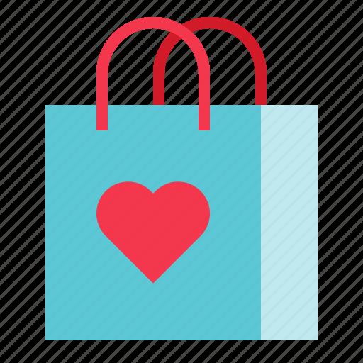 bag, love, romance, shopper bag, shopping bag, valentine icon
