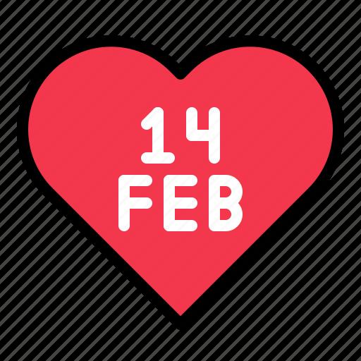 february, heart, love, valentine icon