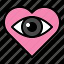 eye, heart, love, search, sigh, valentine icon