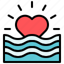 heart, love, valentine, wave icon