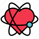 atom, heart, love, valentine icon