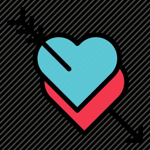 arrow, love, pierce, stab, valentine icon