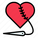 love, needle, repair, sew, valentine icon