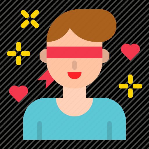 blind, blindfold, love, man, romance, valentine icon