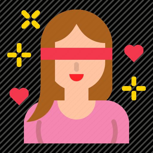 blind, blindfold, love, romance, valentine, woman icon