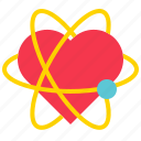 atom, heart, love, romance, valentine icon