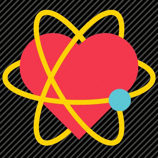 atom, heart, love, romance, valentine icon