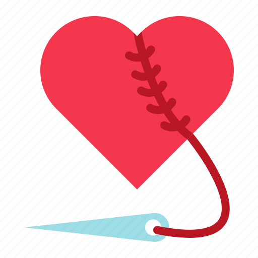 love, needle, repair, romance, sew, valentine icon