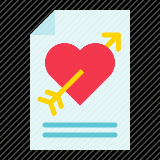 letter, love, love letter, mail, romance, valentine icon