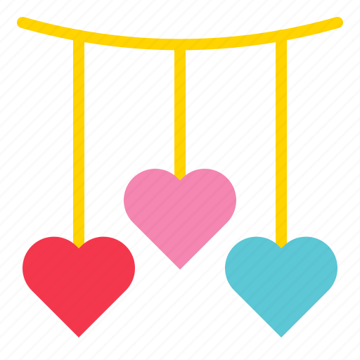 decoration, hanging, heart, love, mobile, romance icon