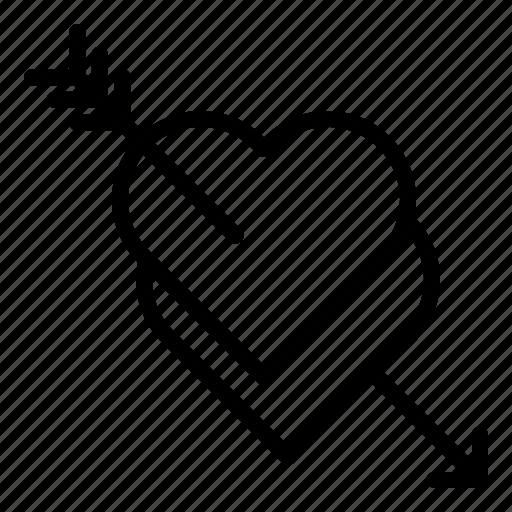 arrow, love, pierce, romance, stab, valentine icon