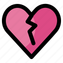 color, heart, hurt, people, someone, valentine icon