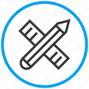 draw, drawing tools, edit, pen, pencil, ruler, write icon