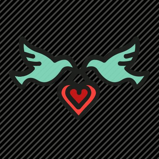 birds, dove, heart, love, pigion icon