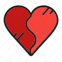 broken, fragments, heart, like, love icon