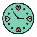 clock, heart, hour, love, time icon