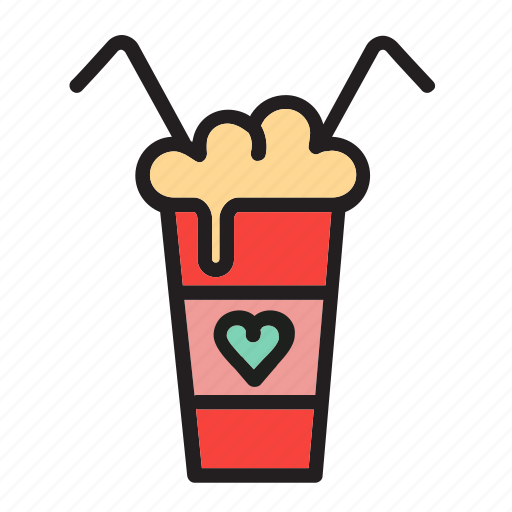 cocktail, coffee, drink, for two, love icon
