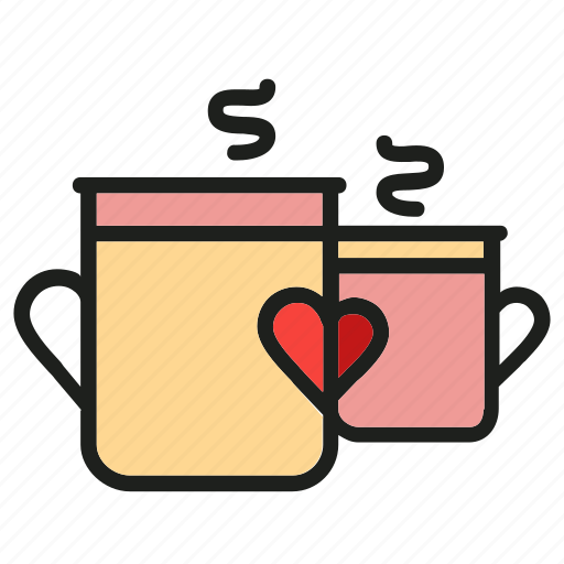 cups, drink, heart, hot, love, mug icon